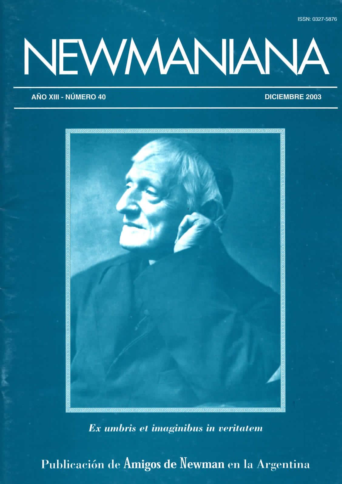 Revista Newmaniana N° 40 – Diciembre 2003